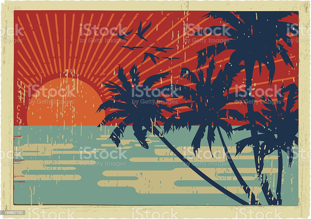 island vintage postcard vector art illustration