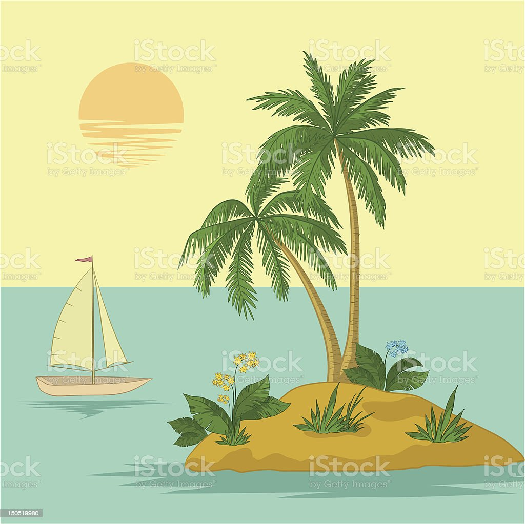 Island with palm and ship royalty-free stock vector art