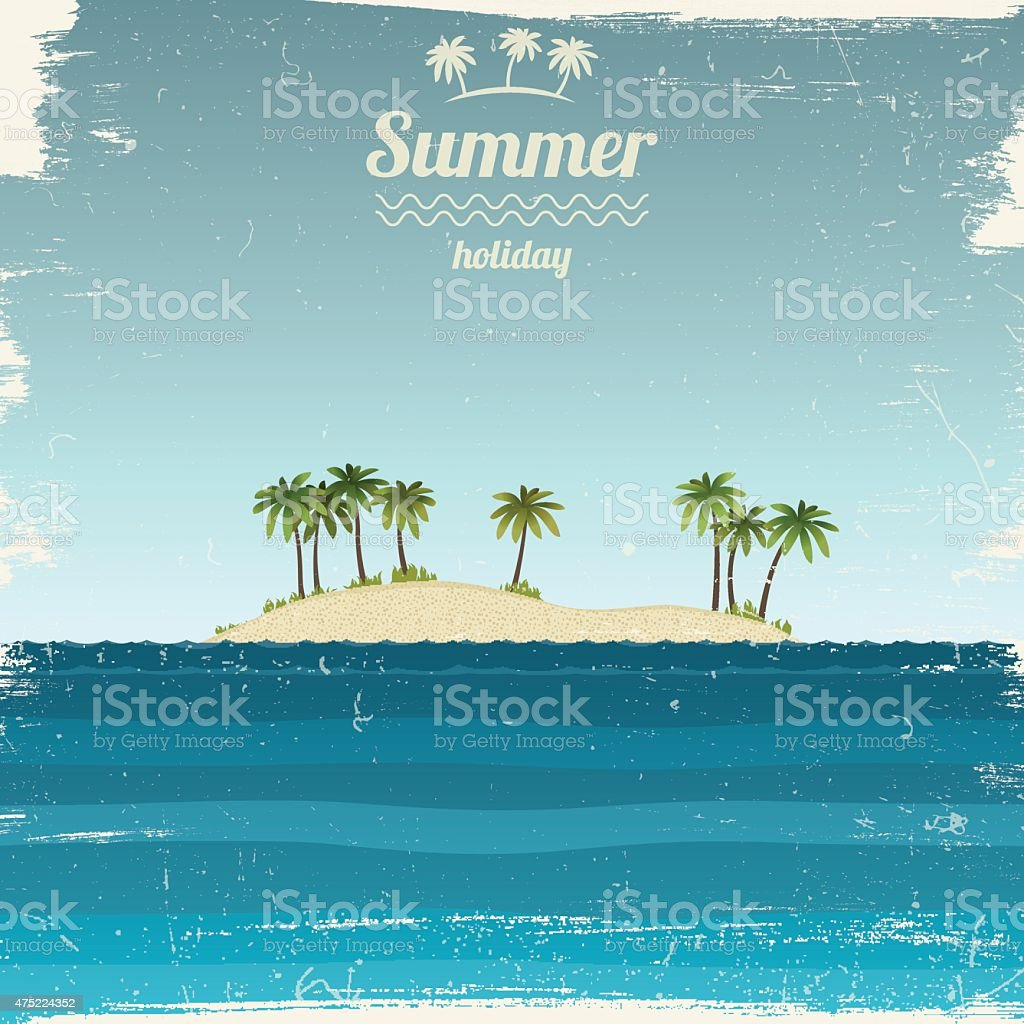 Island with palm trees in the ocean. vector art illustration