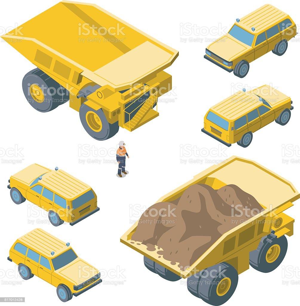 iso Truck + Vehicle vector art illustration