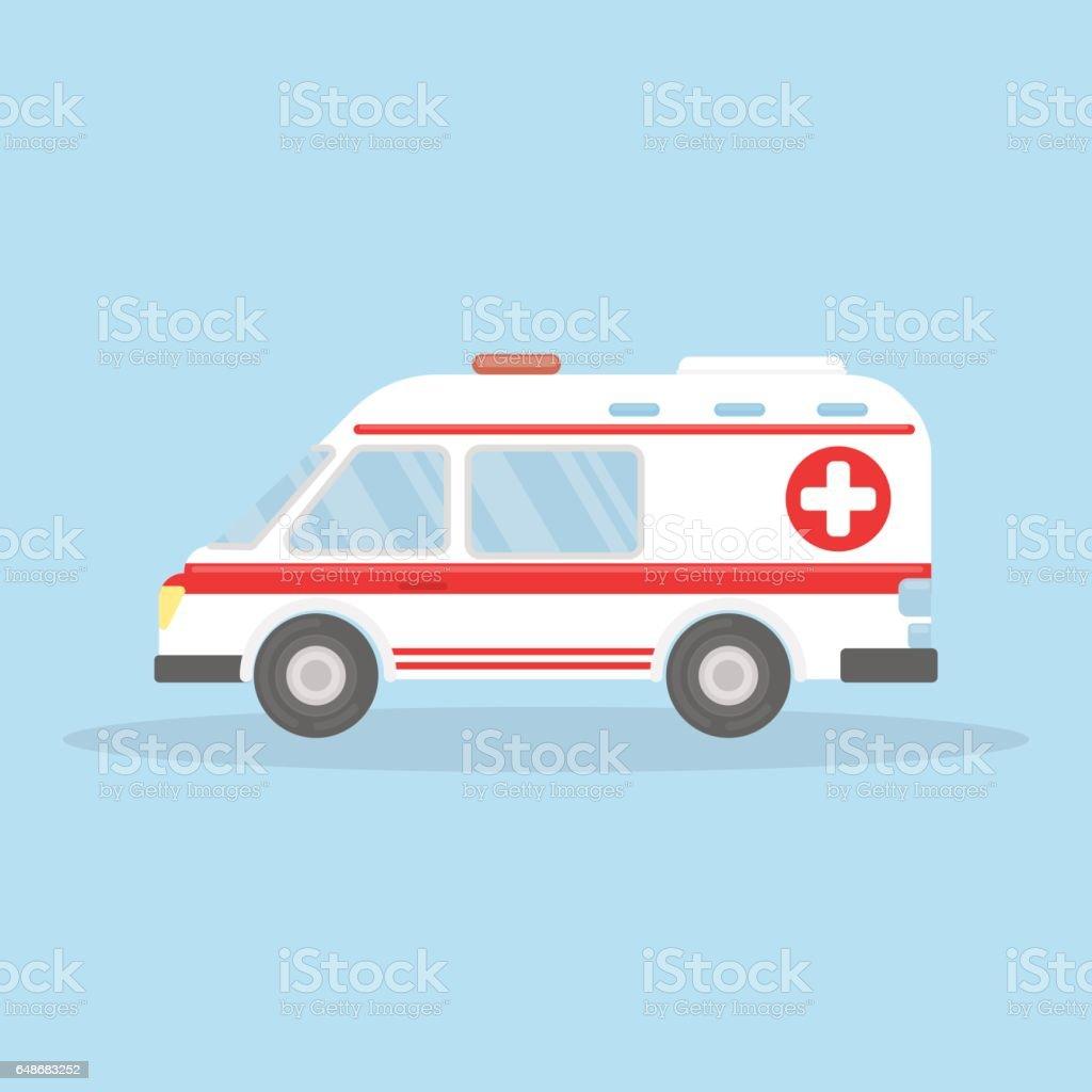 Isolated ambulance car on blue background. vector art illustration