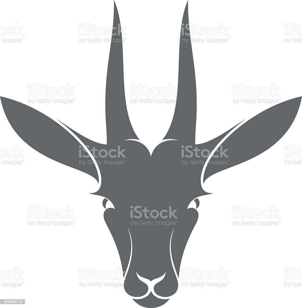 Isolated antelope on white background vector art illustration