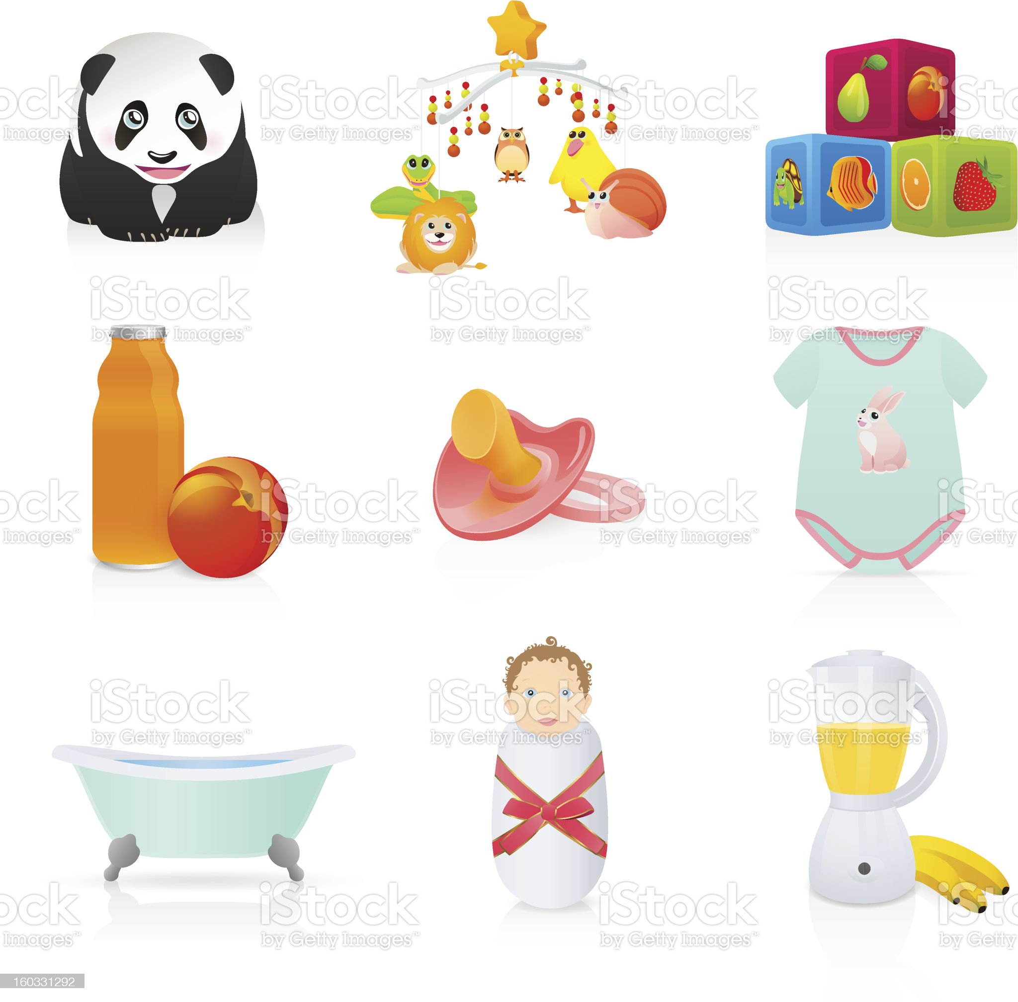 Isolated Baby (newborn) icons: cubes / block, tub, toys, pacifier. Vector royalty-free stock vector art