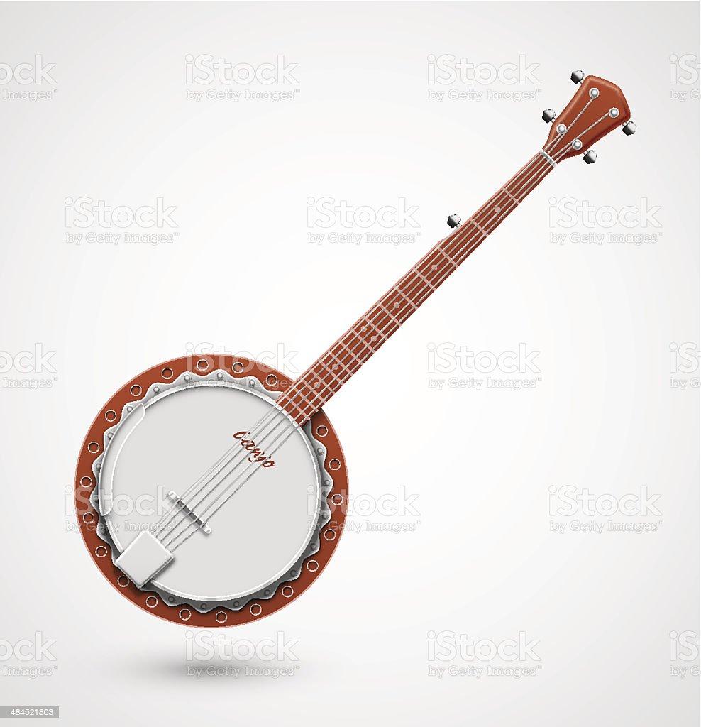 Isolated banjo vector art illustration