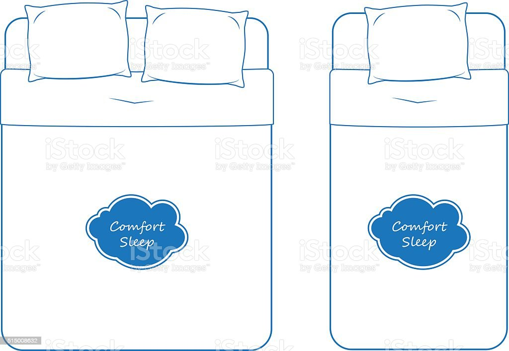Isolated Bedding Icon Set, Outline Vector vector art illustration