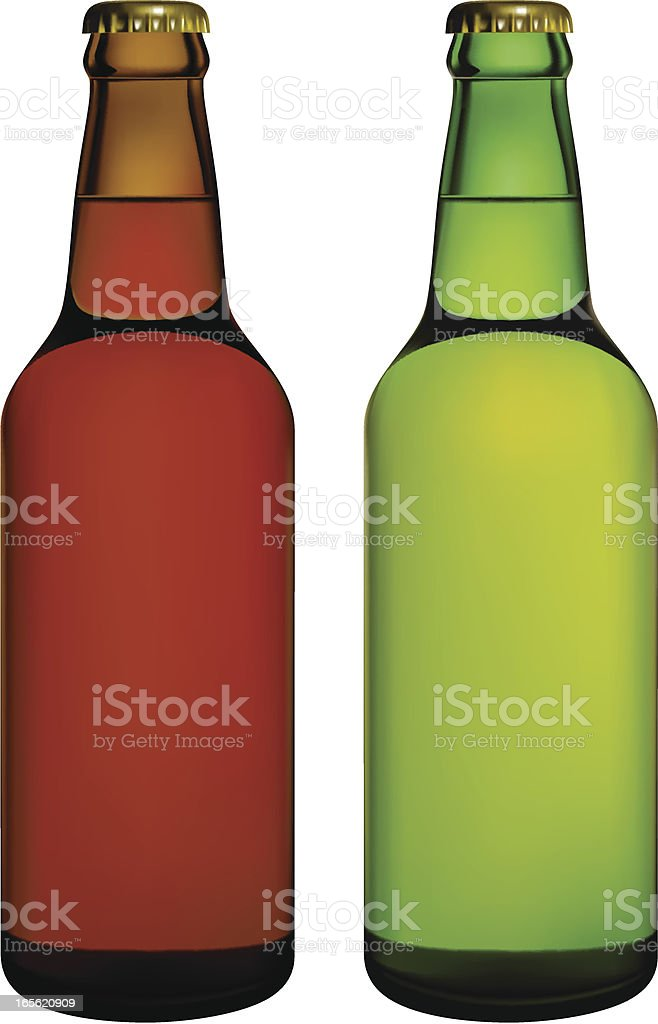 Isolated beer bottles vector art illustration