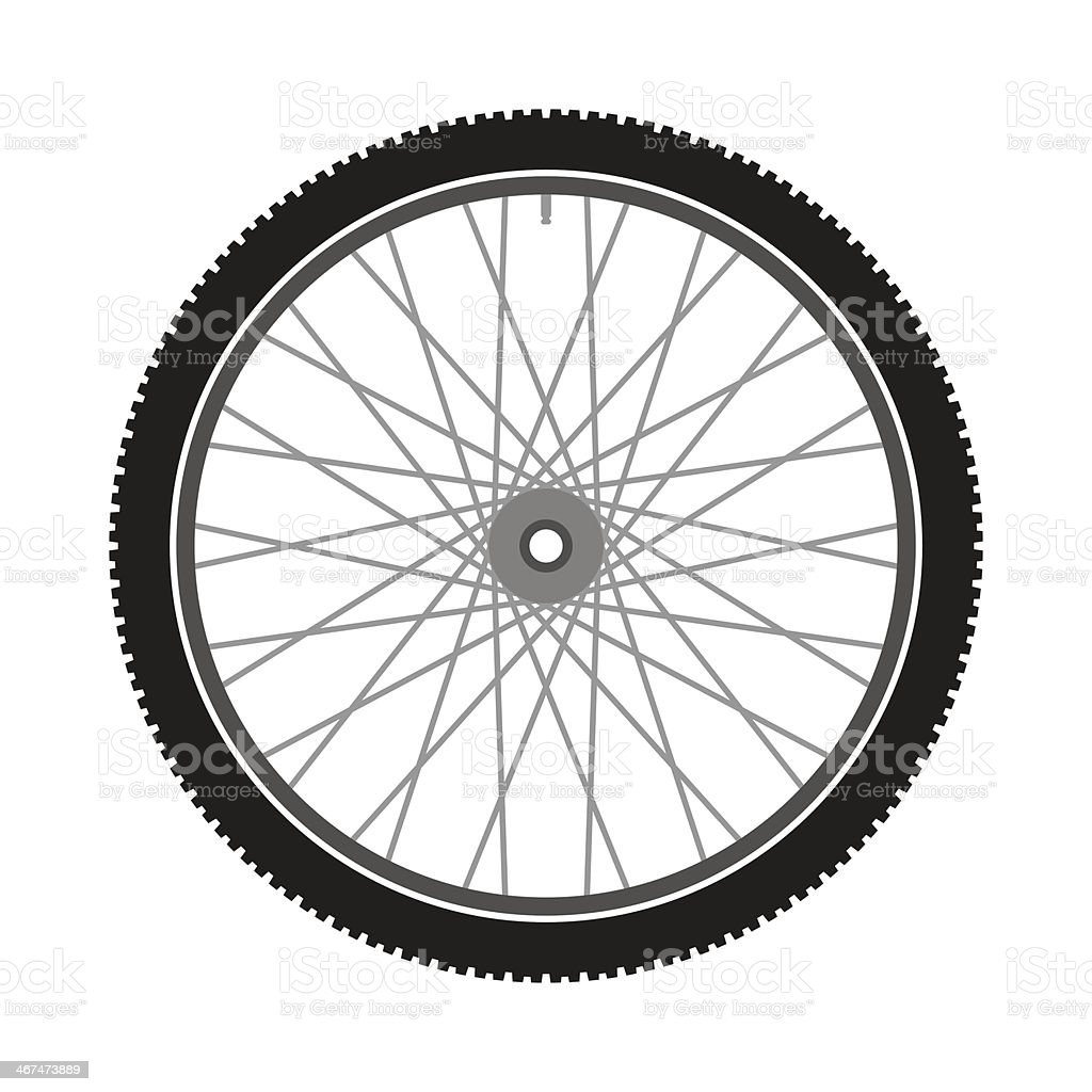Isolated Bicycle Wheel vector art illustration