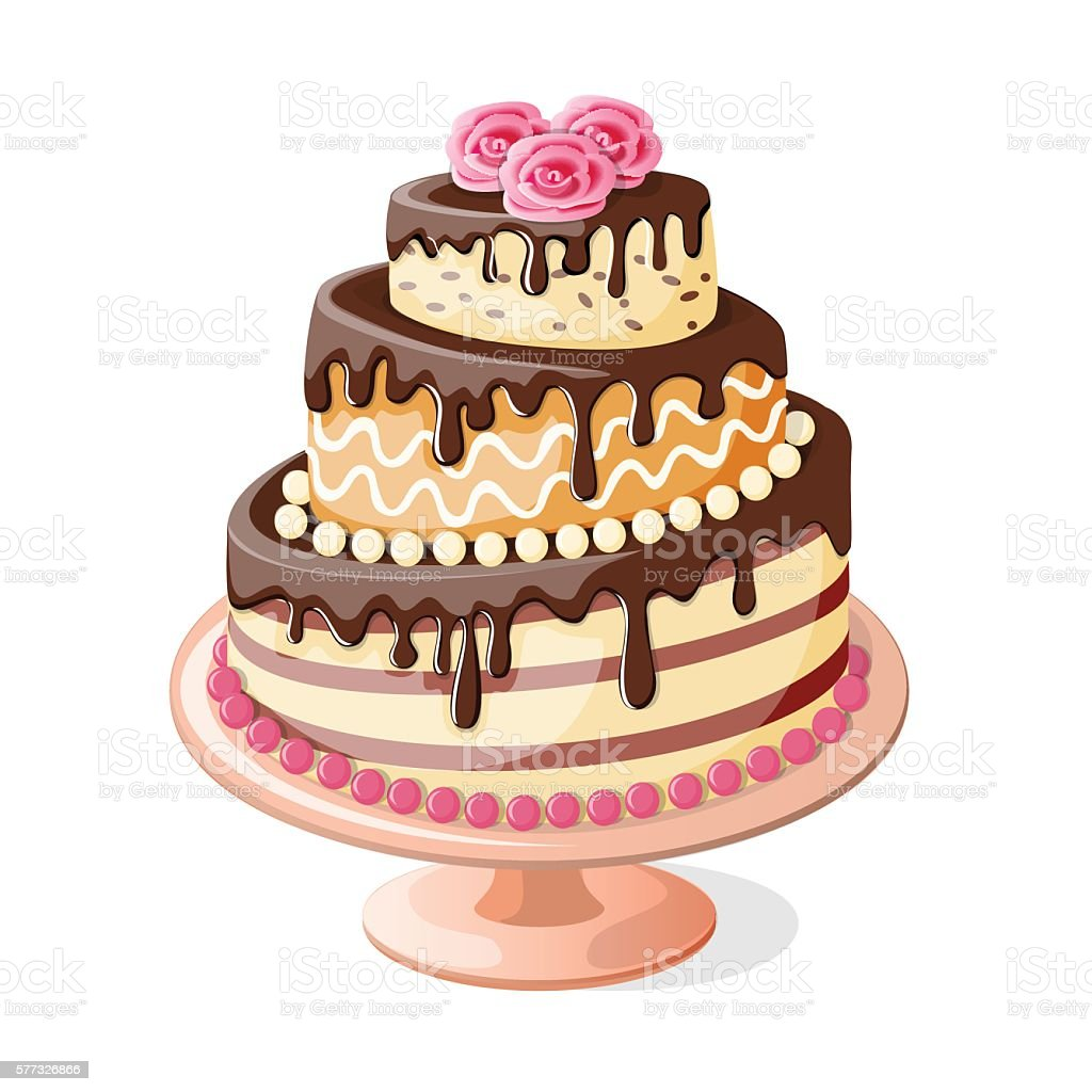 isolated  cake tier  with roses on the plate vector art illustration