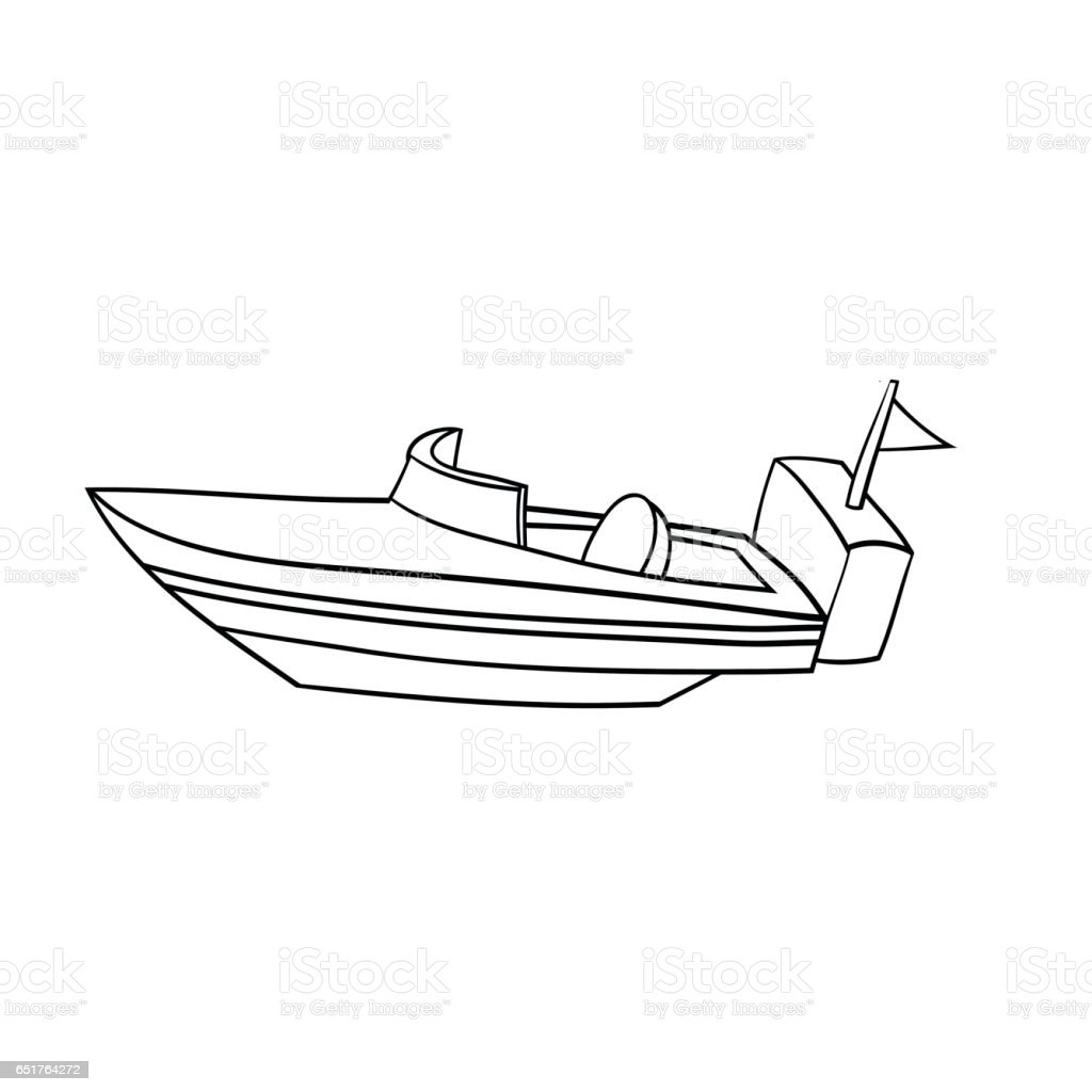 isolated cartoon speed boat stock vector art 651764272 istock