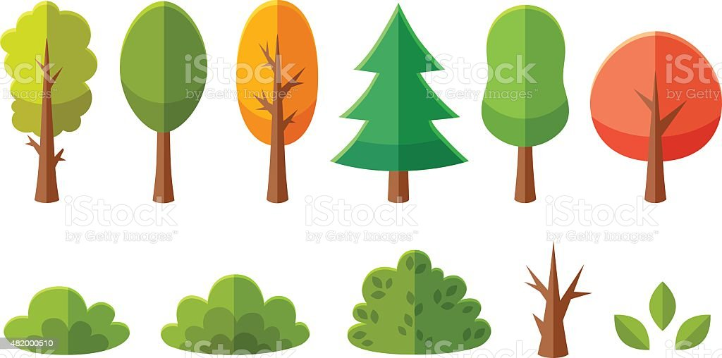 Isolated cartoon trees and bushes pack vector art illustration