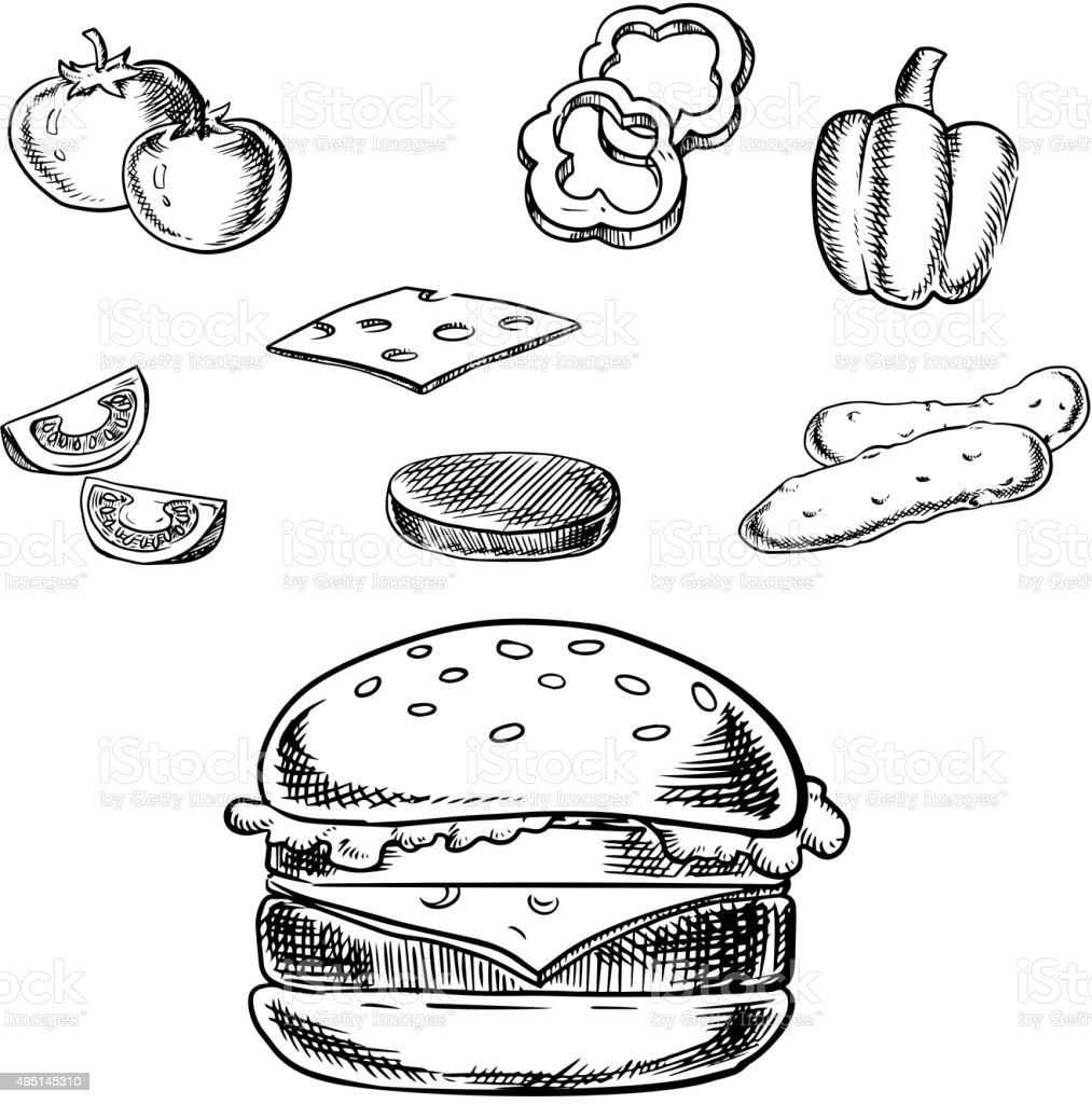 Isolated cheeseburger with fresh ingredients vector art illustration