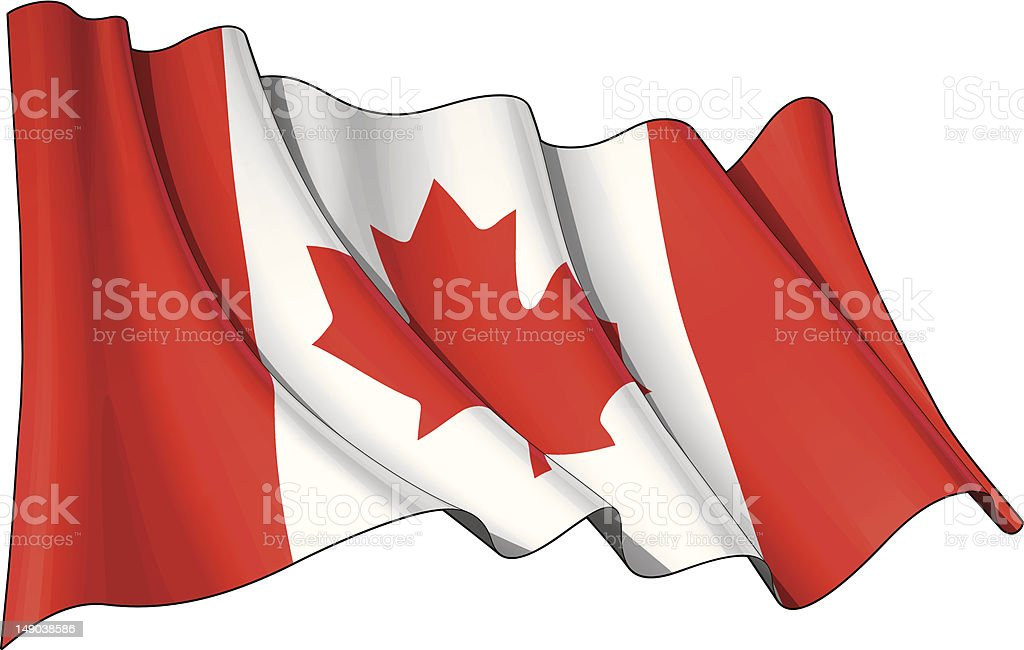 Isolated digital image of the Canadian flag on white vector art illustration