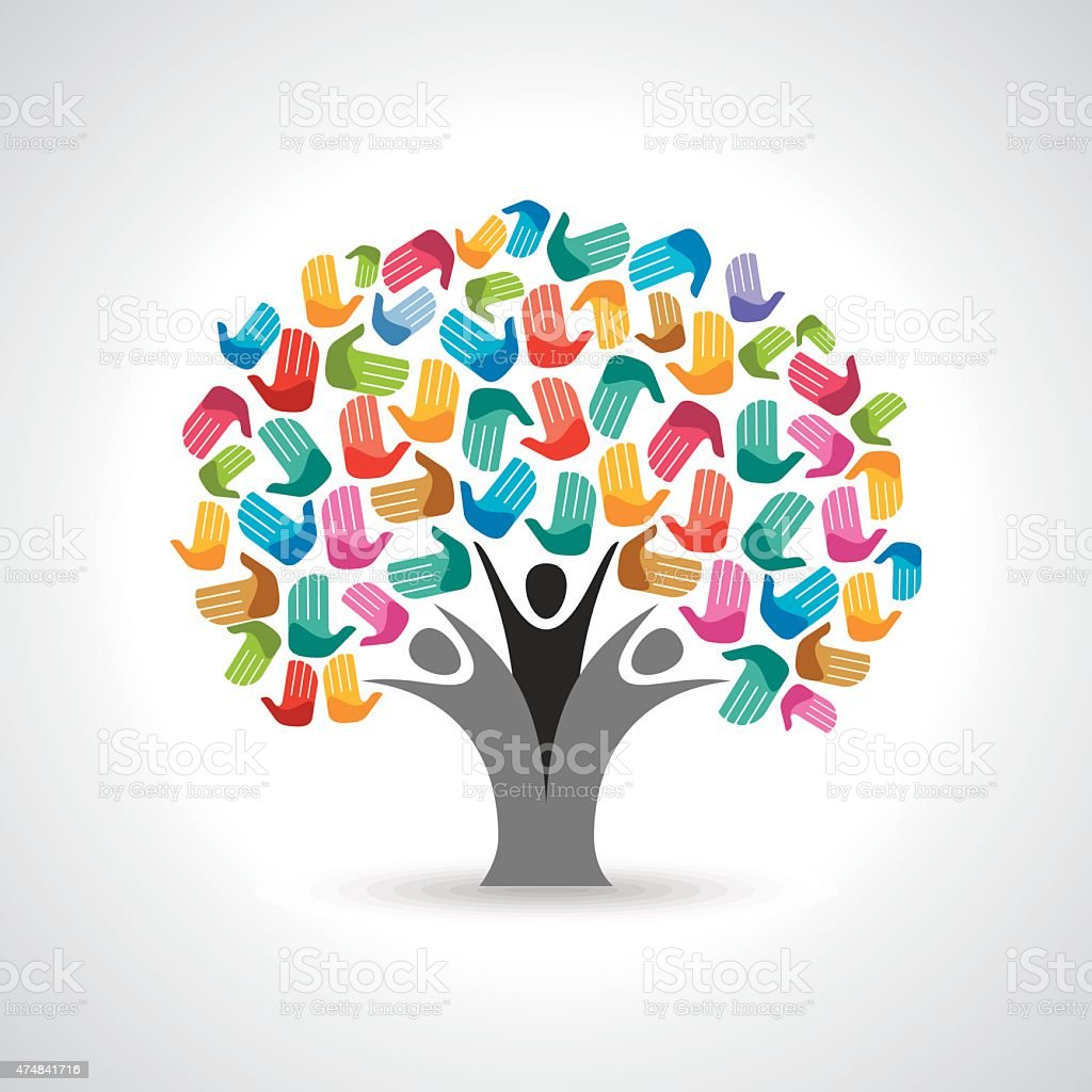 Isolated diversity tree hands illustration. vector art illustration