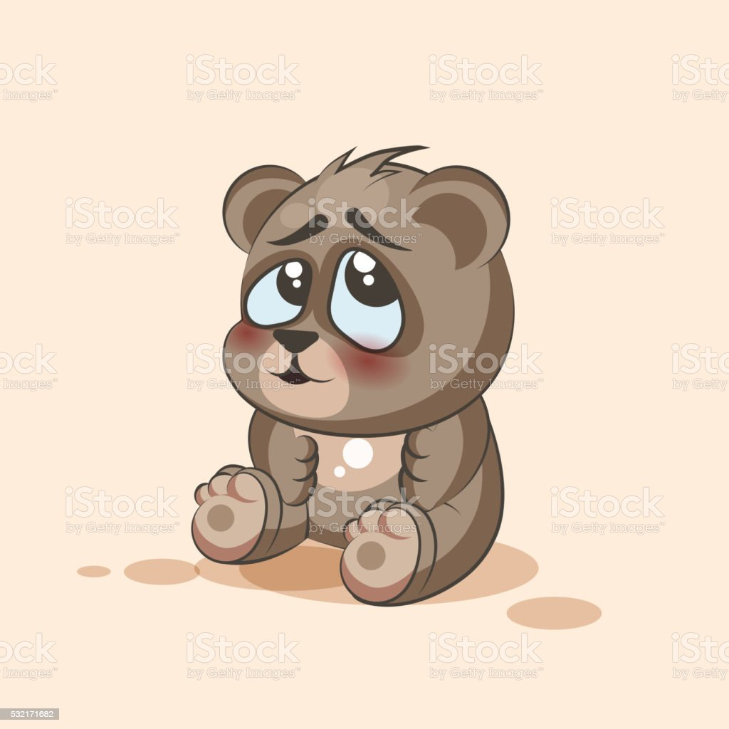 isolated Emoji character cartoon Bear embarrassed, shy and blushes sticker vector art illustration