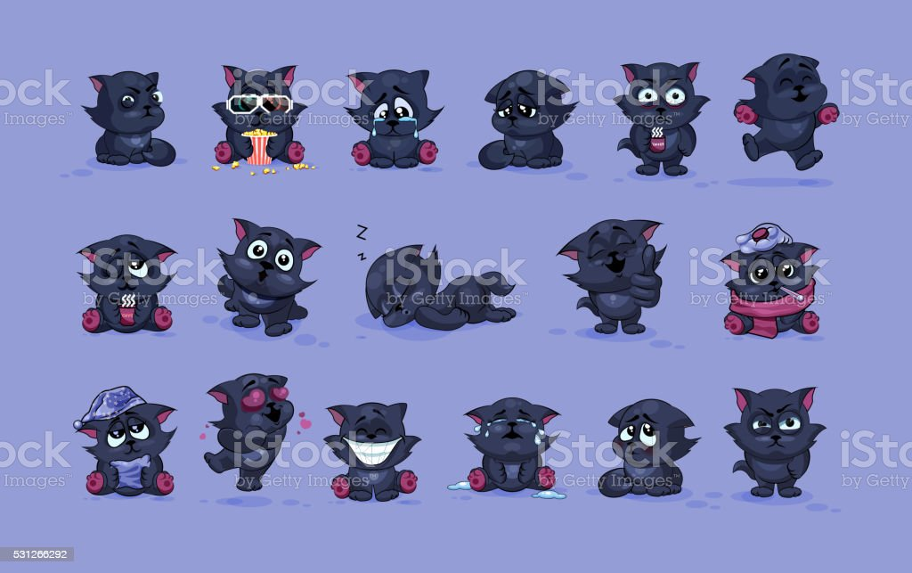 isolated Emoji character cartoon black cat stickers emoticons with different vector art illustration