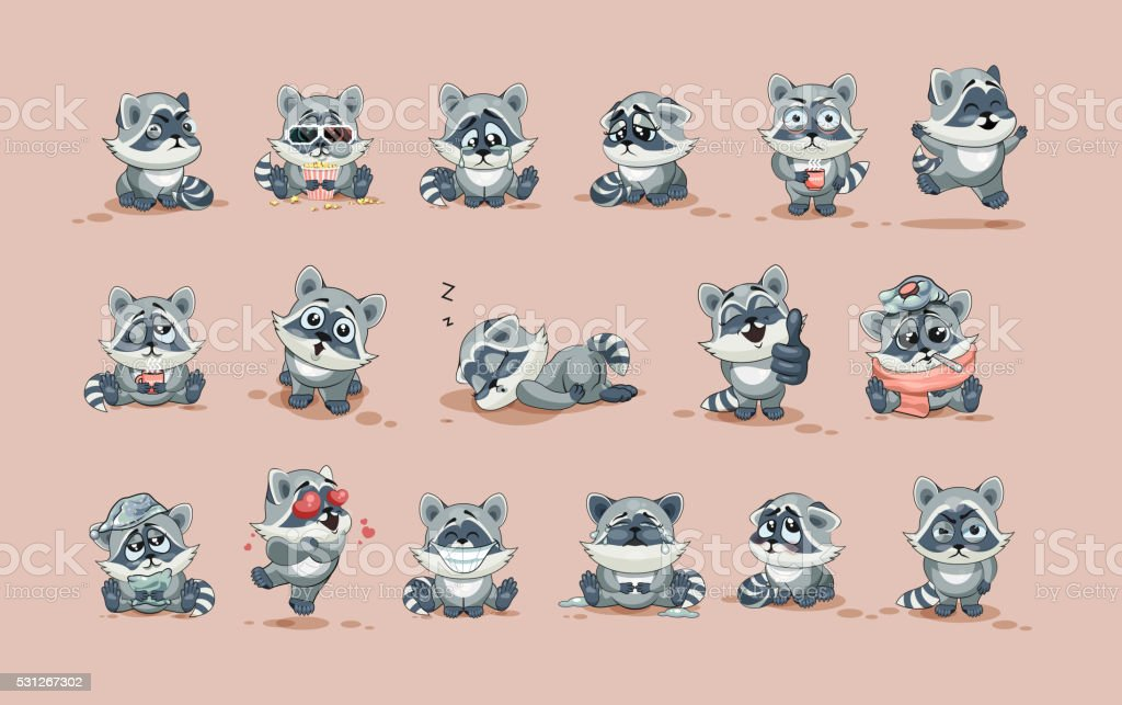 isolated Emoji character cartoon Raccoon cub sticker emoticons with different vector art illustration