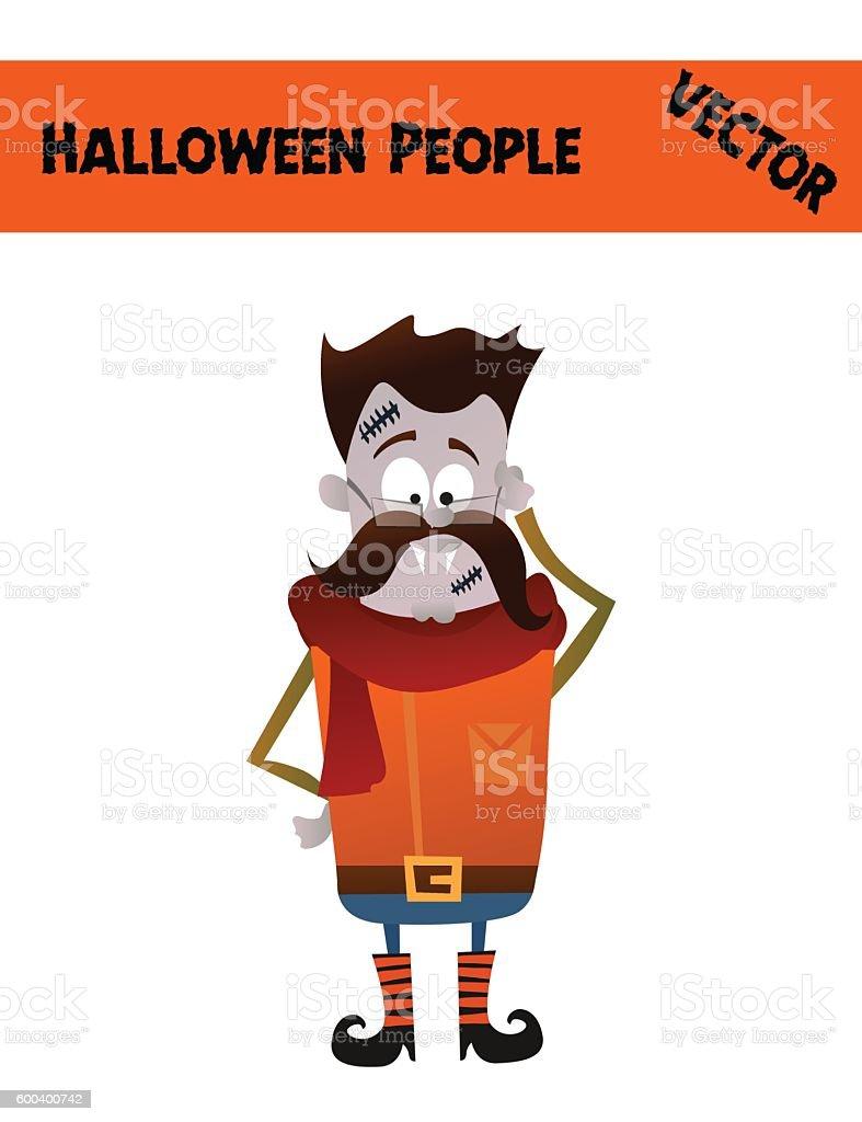 Isolated Festive Orange October Vector Halloween Guy Illustration vector art illustration