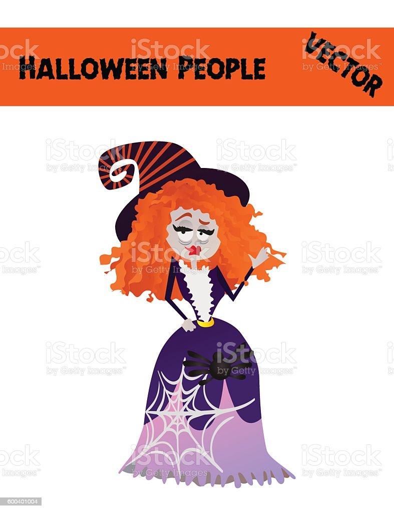 Isolated Festive Orange October Vector Halloween Woman Illustration vector art illustration