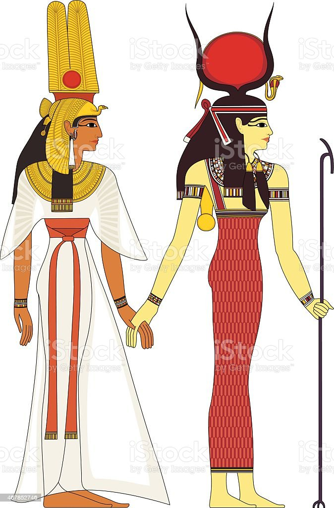 Isolated figure of ancient egypt god vector art illustration