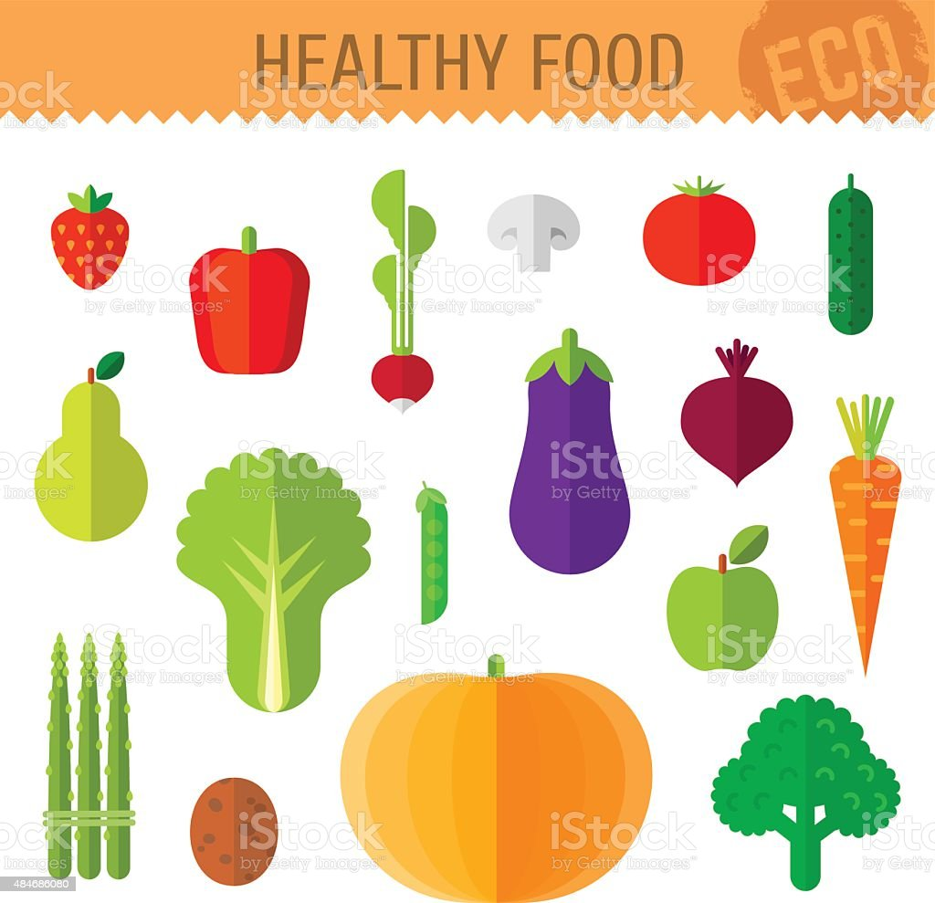 Isolated fresh vegetables and fruits on white background. vector art illustration