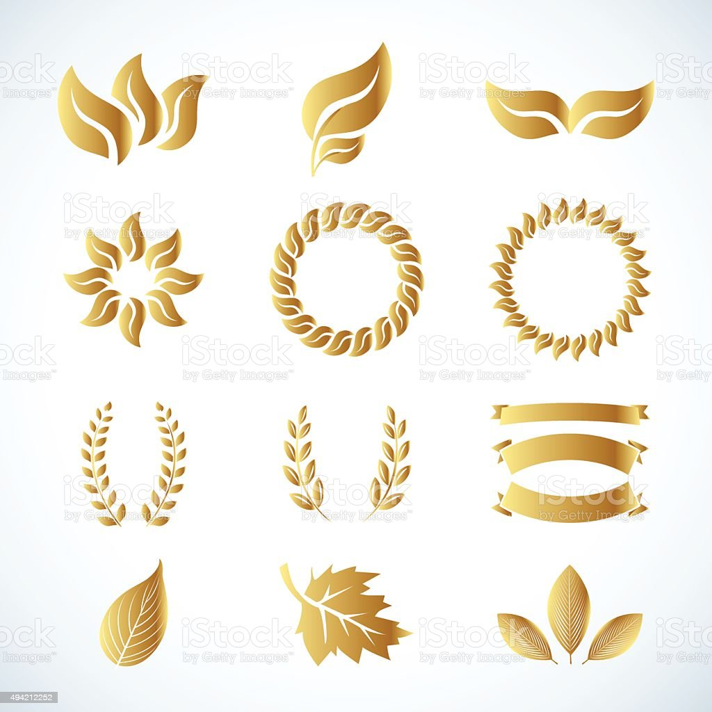 Isolated golden leaves. Golden laurel leaves set. vector art illustration