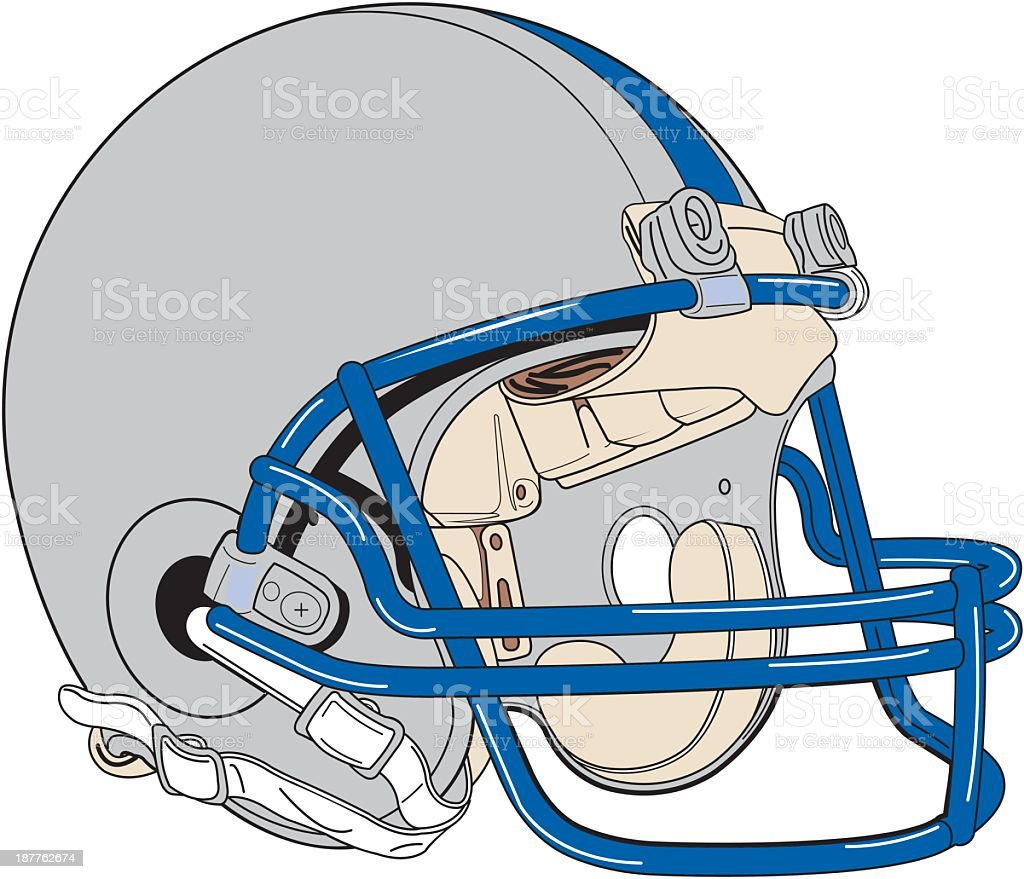 Isolated gray football helmet with blue face mask royalty-free stock vector art