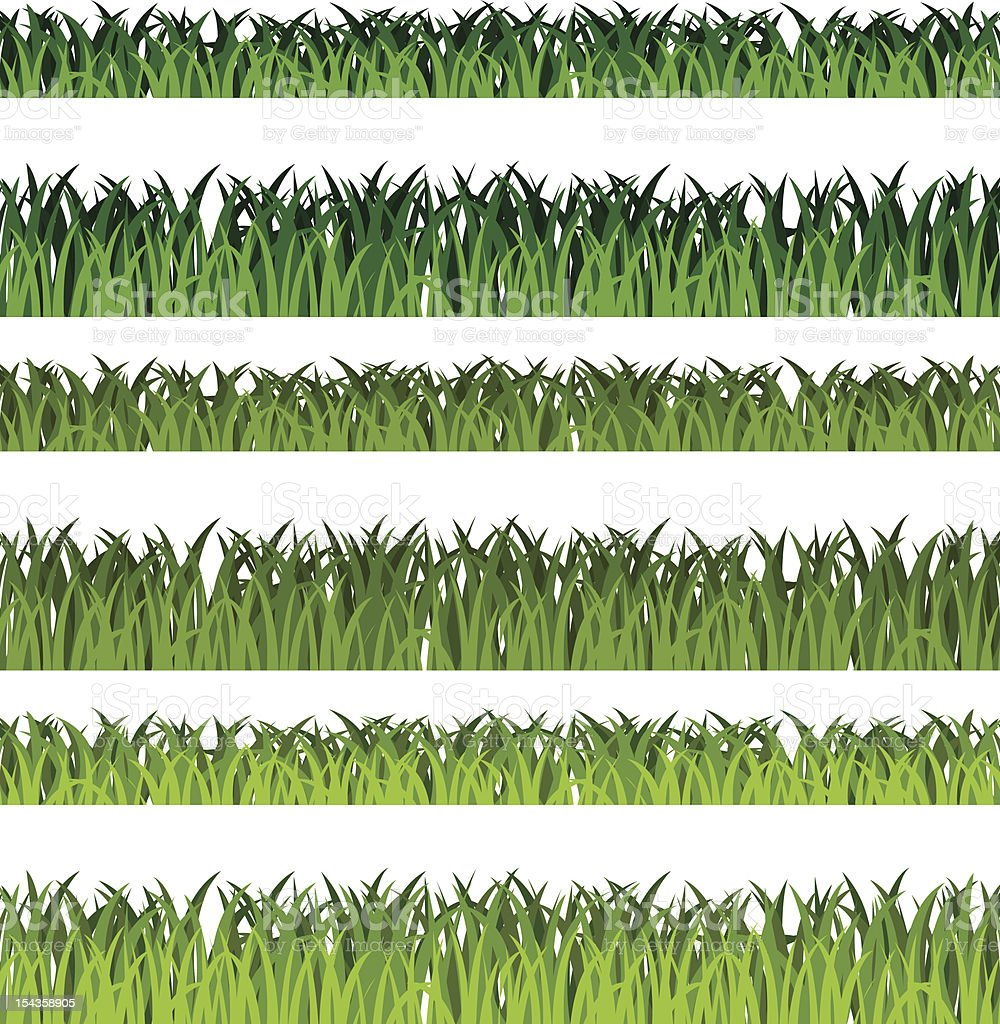 Isolated green grass collection vector art illustration