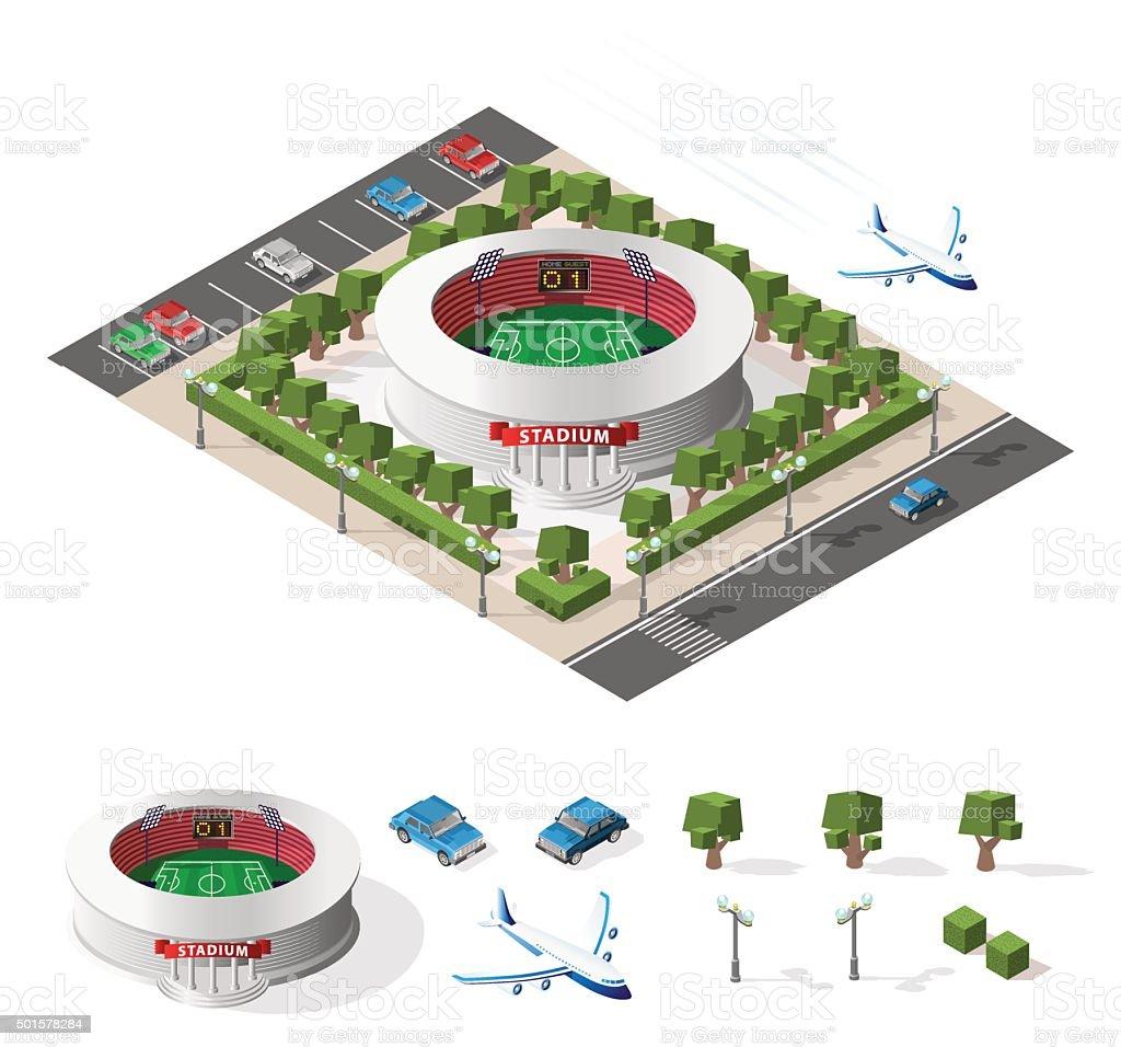 Isolated High Quality Isometric Stadium on White Background. vector art illustration