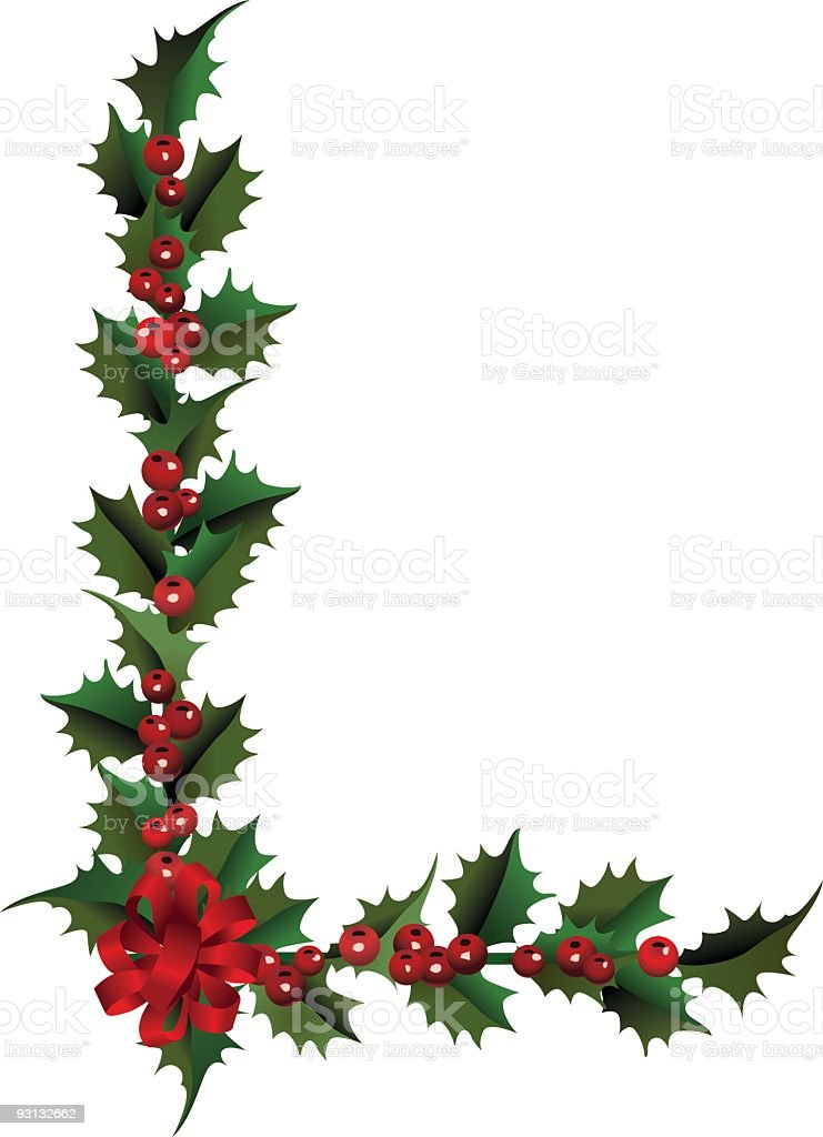 Isolated Holly Corner with Red Berries and Ribbon Bow royalty-free stock vector art