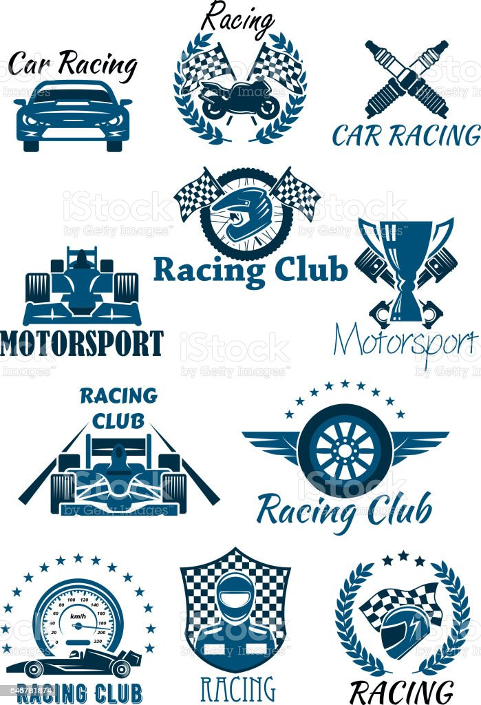 Isolated icons and emblems for racing and motorsport. Cars and racing...