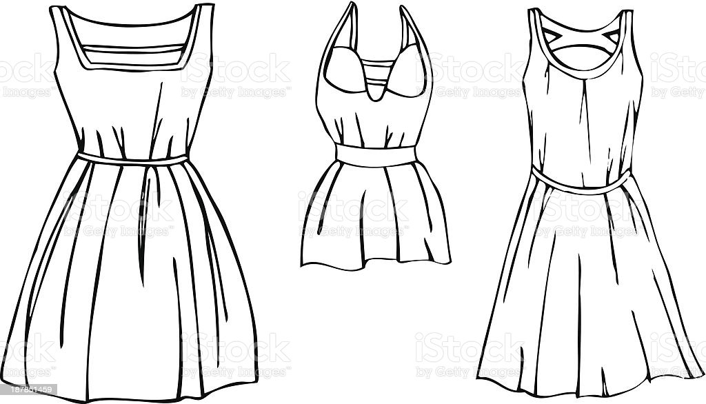 Isolated Illustrated Vectors of 3 Women's Dresses royalty-free stock vector art