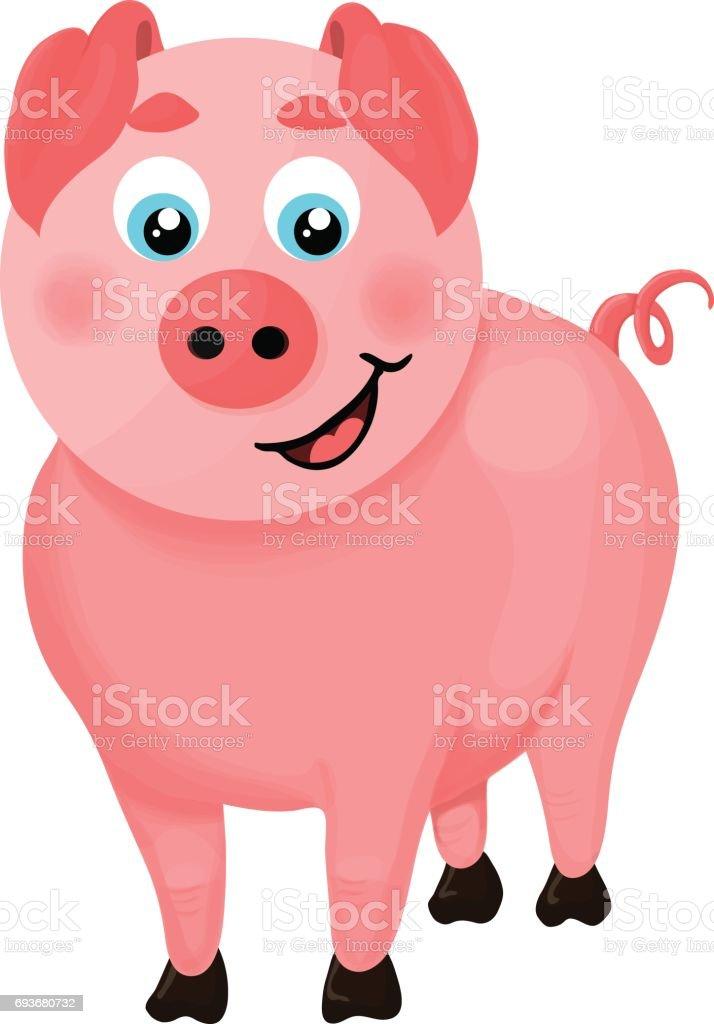 Isolated illustration of a cartoon pig vector art illustration