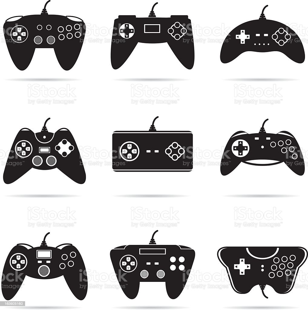 Isolated image of an Assortment of gamepads vector art illustration