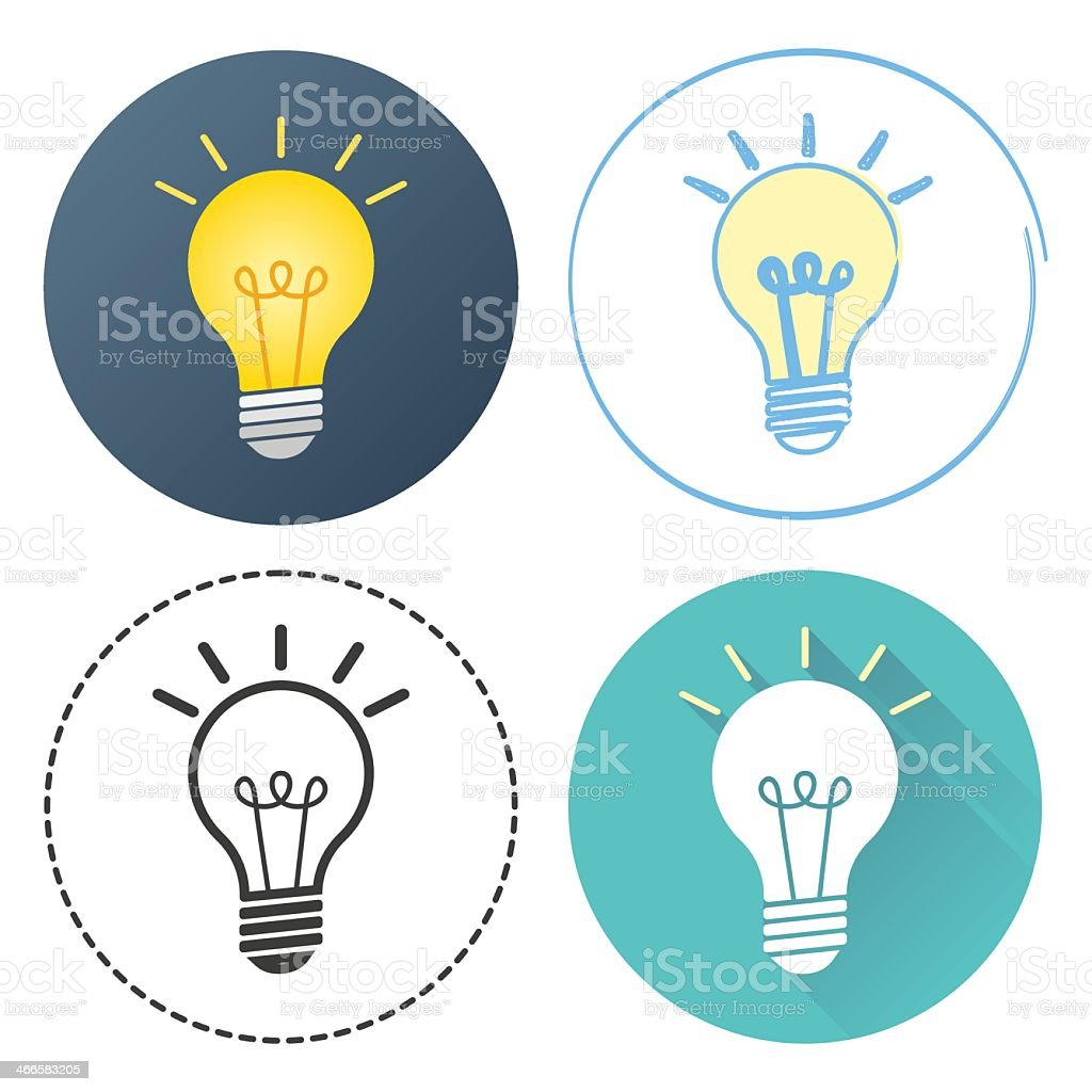 Isolated image of four drawings of light bulbs vector art illustration