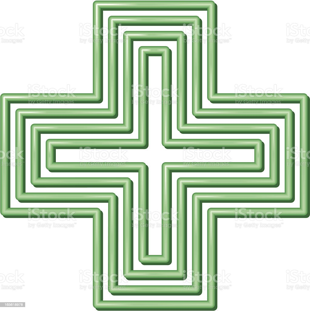 Isolated image of the green cross on white vector art illustration