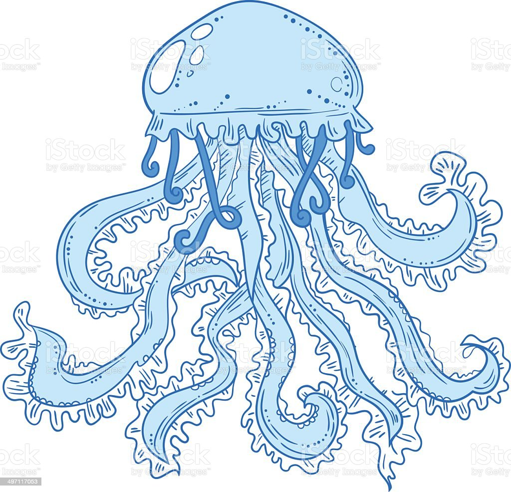 Isolated jellyfish royalty-free stock vector art