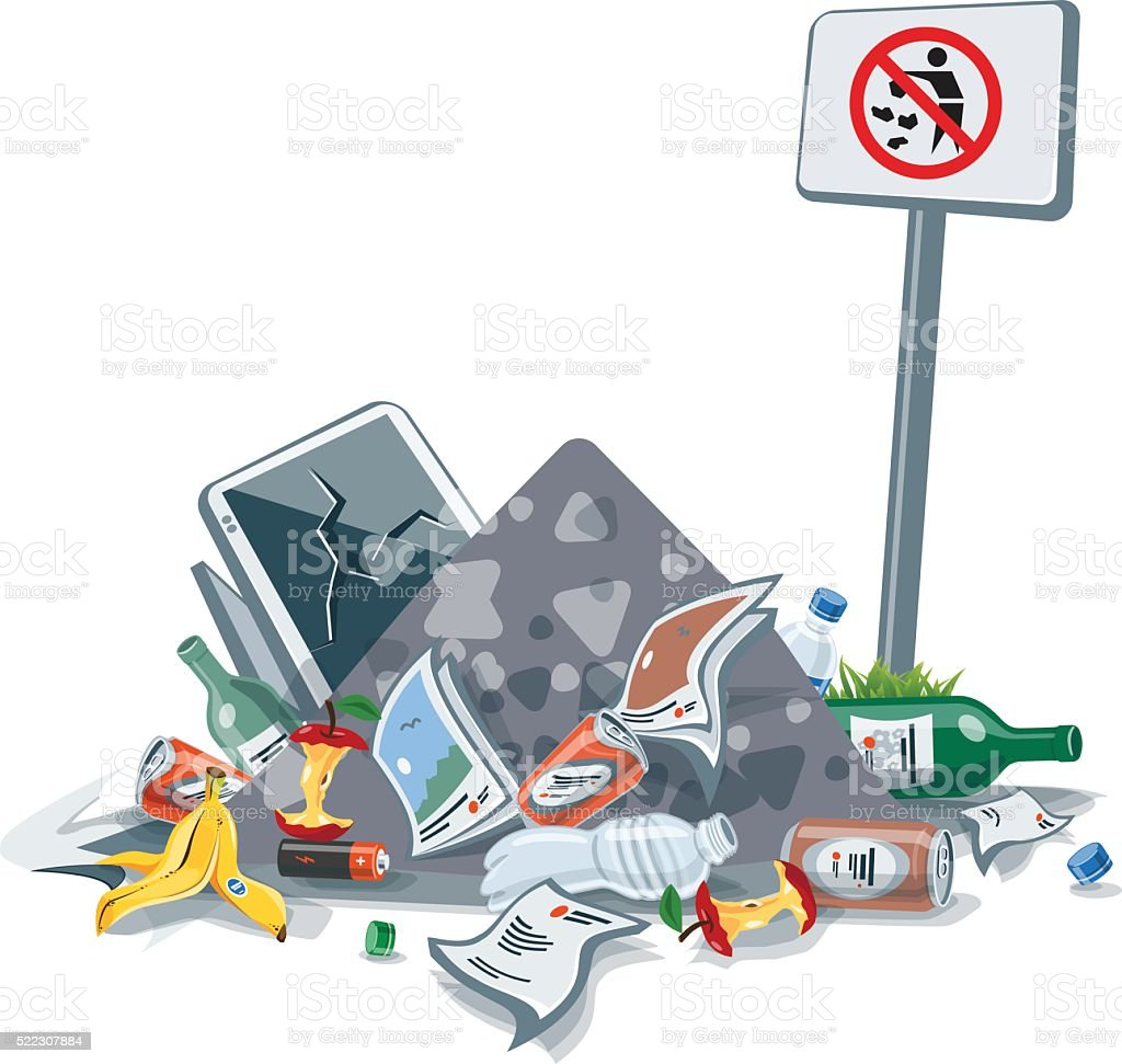 Isolated Littering Garbage Trash Stack with No Littering Sign vector art illustration