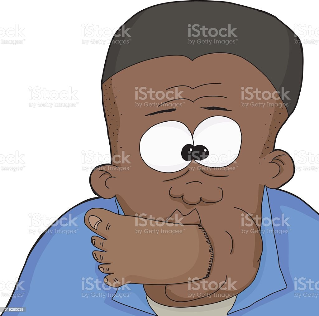 Isolated Man with Foot in Mouth vector art illustration