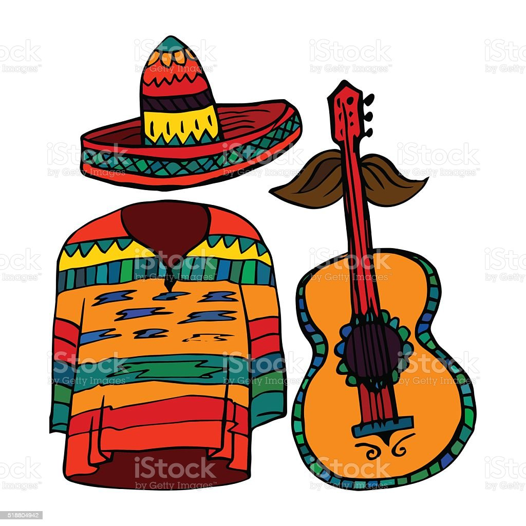 Isolated maxican symbols - poncho, sombrero and guitar vector art illustration