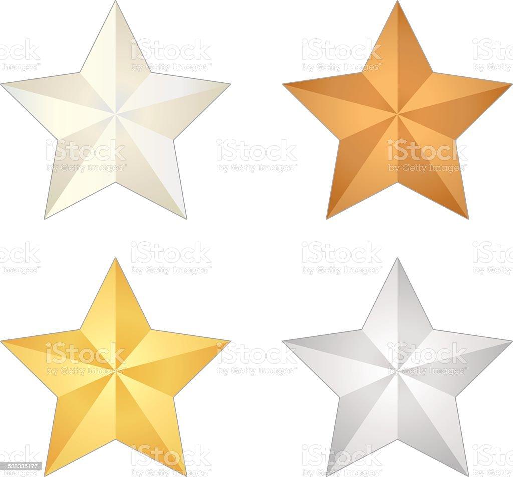 Isolated Metal Star Vector Set vector art illustration