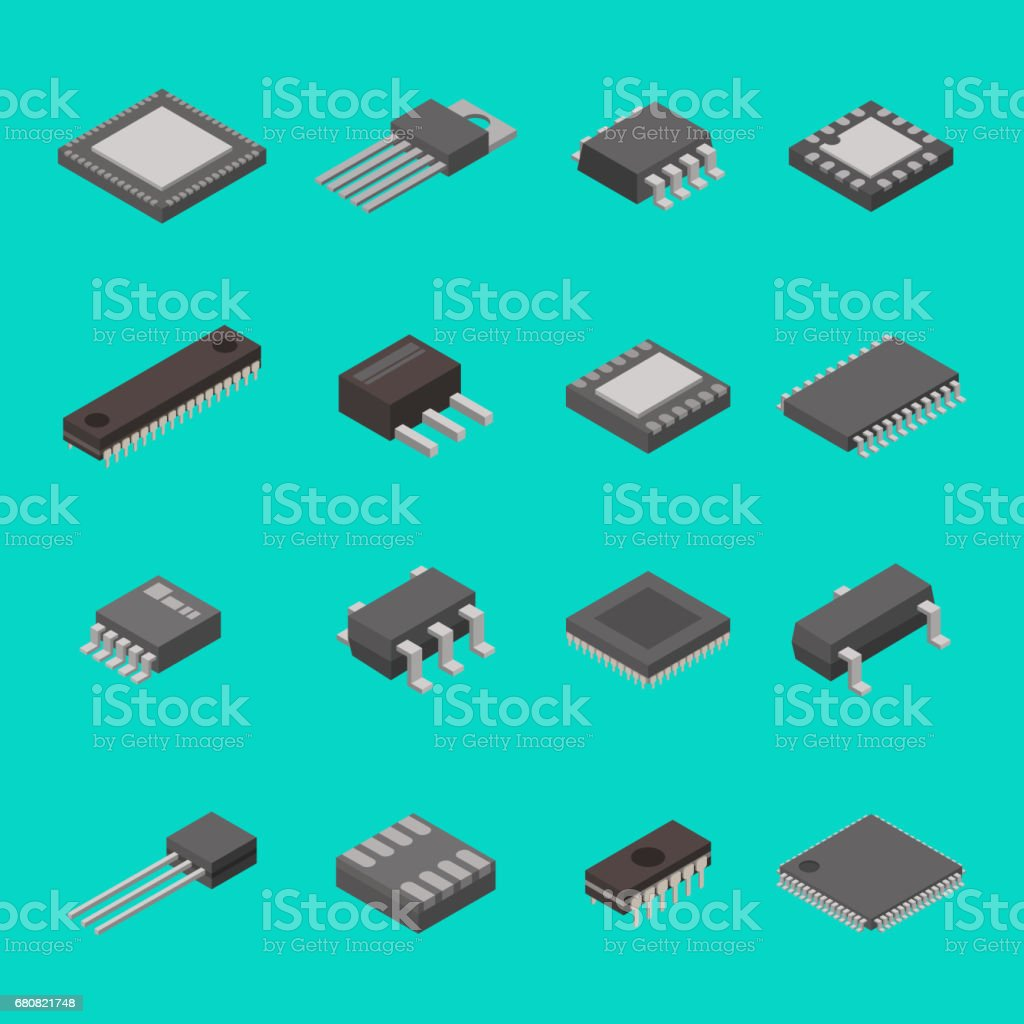 Isolated microchip semiconductor computer electronic components isometric icons vector illustration vector art illustration