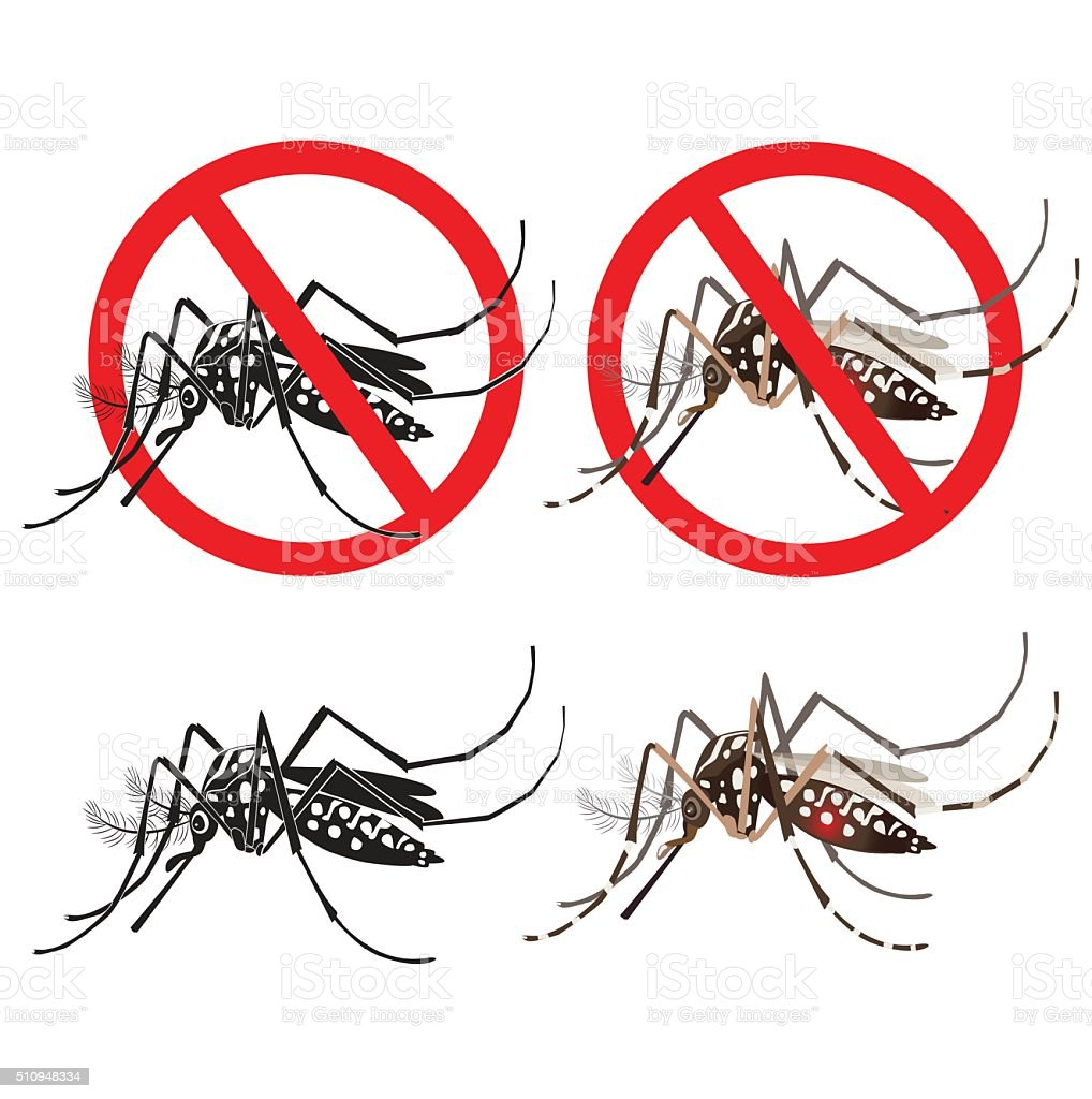 Isolated Mosquito Editable Under The Red Circle. Zika Virus. vector art illustration