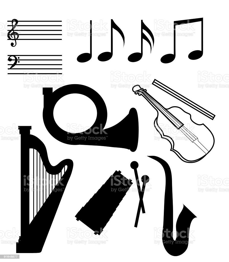 Isolated Musical Instruments royalty-free stock vector art