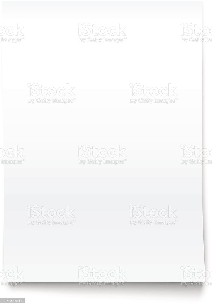 Isolated on White Blank Office Paper Mock-Up. vector art illustration