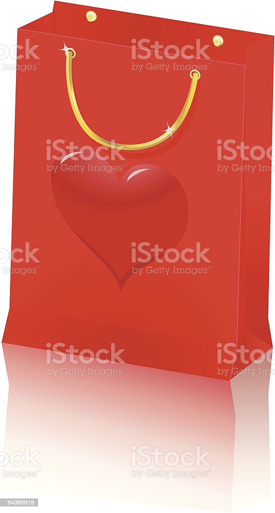 isolated paper shopping bag vector art illustration