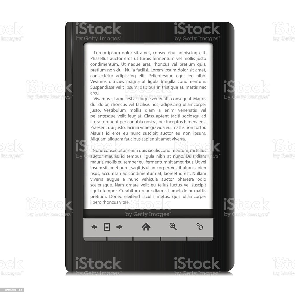 Isolated photograph of a simple ebook reader vector art illustration