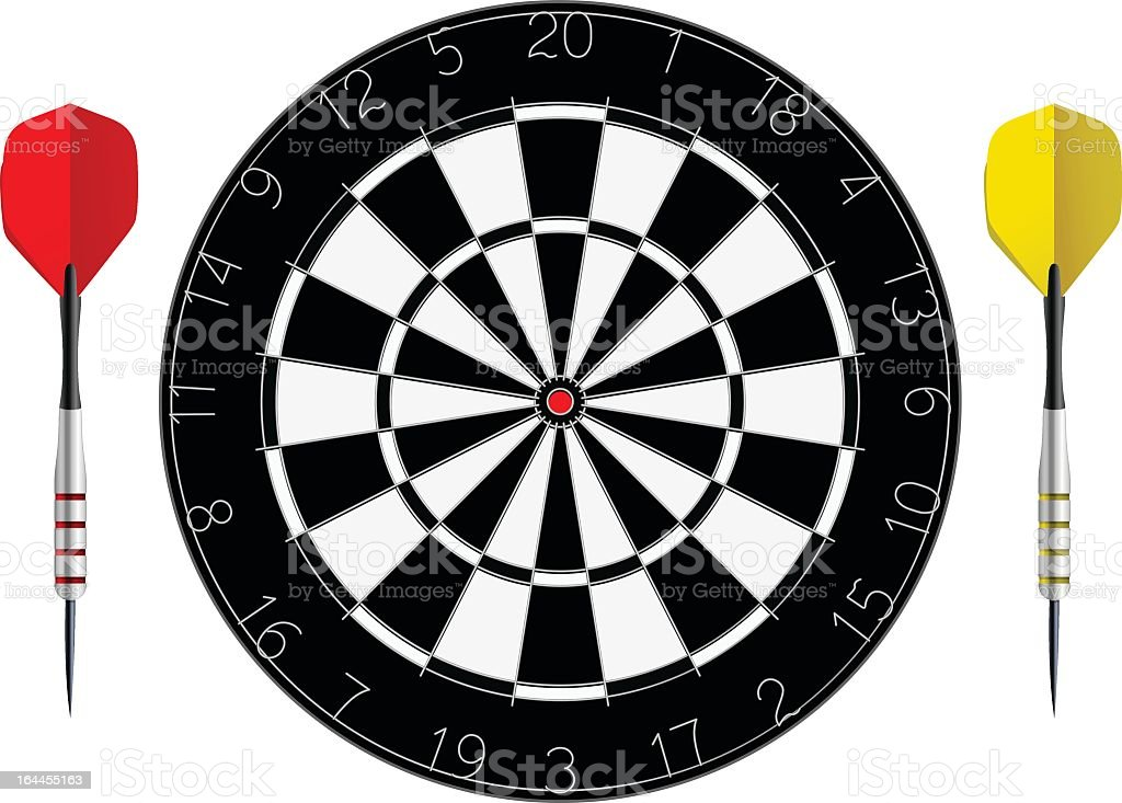Isolated picture of a dartboard and two darts vector art illustration
