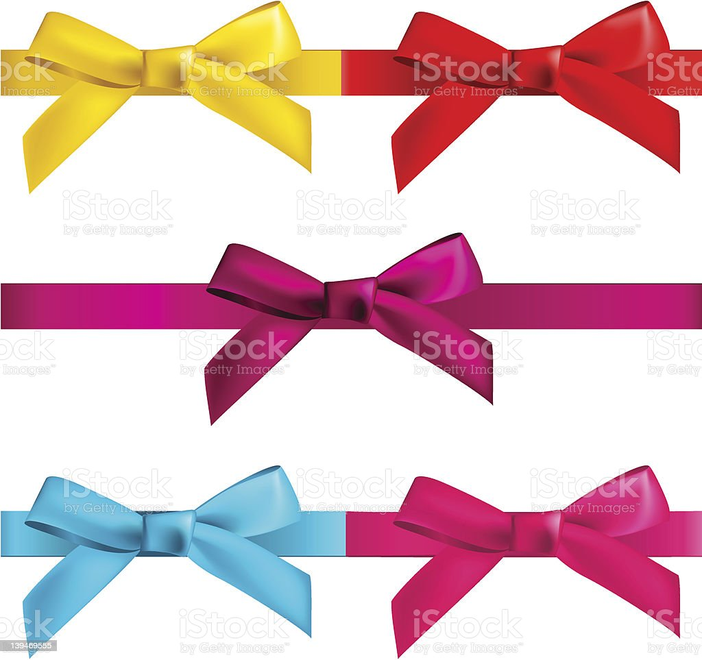 Isolated picture of gift bows with ribbons royalty-free stock vector art