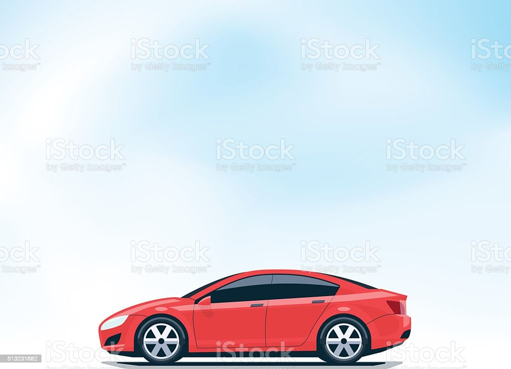 Isolated Red Car Side View vector art illustration