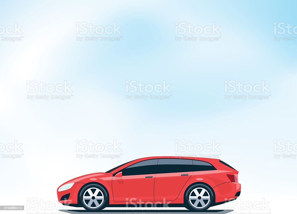 Isolated Red Car Station Wagon Combi Side View vector art illustration